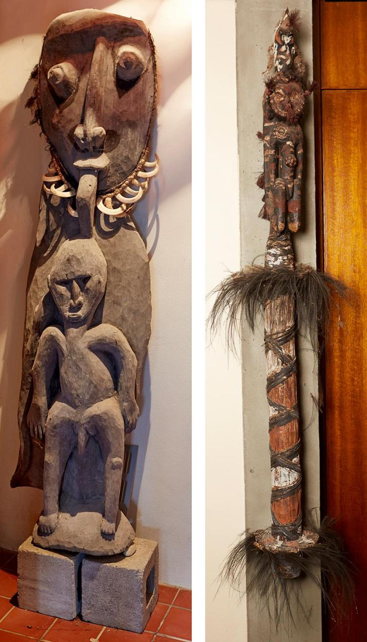 A FINE CEREMONIAL FLUTE, TOGETHER WITH AN ANCESTRAL CARVING, BOTH MIDDLE SEPIK RIVER, PAPUA NEW GUINEA
