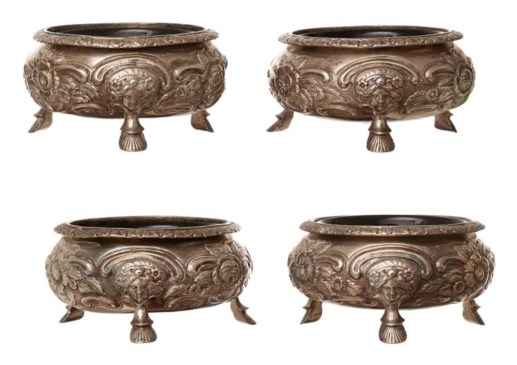 A SET OF FOUR LARGE GEORGE III STERLING SILVER SALTS BY ALICE & GEORGE BURROWS, LONDON 1816