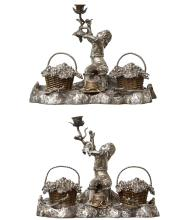 TWO FINE ENGLISH VICTORIAN PARCEL GILT AND SILVER PLATE FIGURAL INKSTANDS