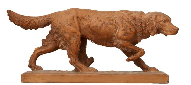 A LARGE FRENCH TERRACOTTA FIGURE OF A SETTER BY EDOUARD FRANCOIS MILLET DE MARCILLY