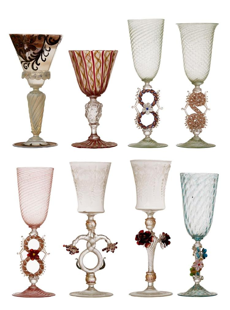 A FINE COLLECTION OF EIGHT VARYING VENETIAN GLASS STEMWARE