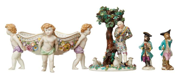 A GROUP OF GERMAN PORCELAIN, TWO DRESDEN MONKEY BAND FIGURES A GROUP FIGURE AND PUTTI COMPORT BY SCHIERHOLZ