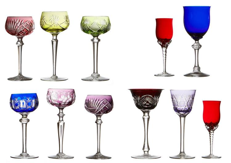 ELEVEN CRYSTAL AND COLOURED GLASS STEMWARE