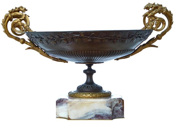 A FRENCH 19TH CENTURY ORMOLU MOUNTED BRONZE CENTRE BOWL ON MARBLE STAND