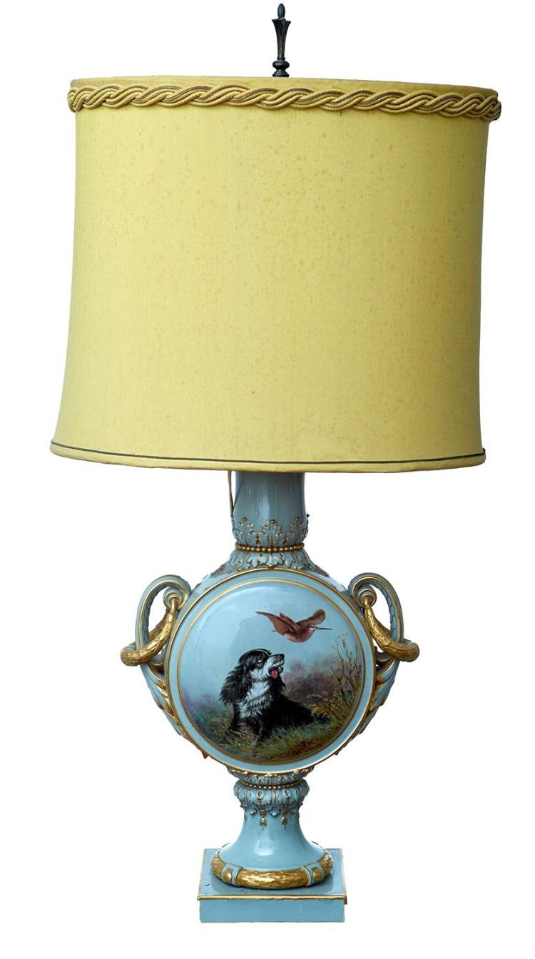 AN ENGLISH PORCELAIN VASE CONVERTED TO A LAMP BASE, PROBABLY MINTON, SIGNED J.ROUSE