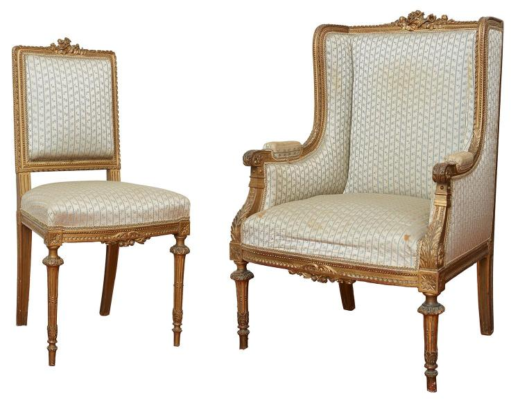 TWO FRENCH LOUIS XVI STYLE GILDED AND SILK UPHOLSTERED CHAIRS, 19TH CENTURY