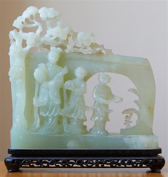A LARGE AND IMPRESSIVE CHINESE JADE GROUP CARVING, SECOND HALF OF THE 20TH CENTURY