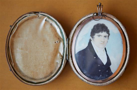 A GEORGIAN PORTRAIT MINIATURE MEMORANDUM LOCKET