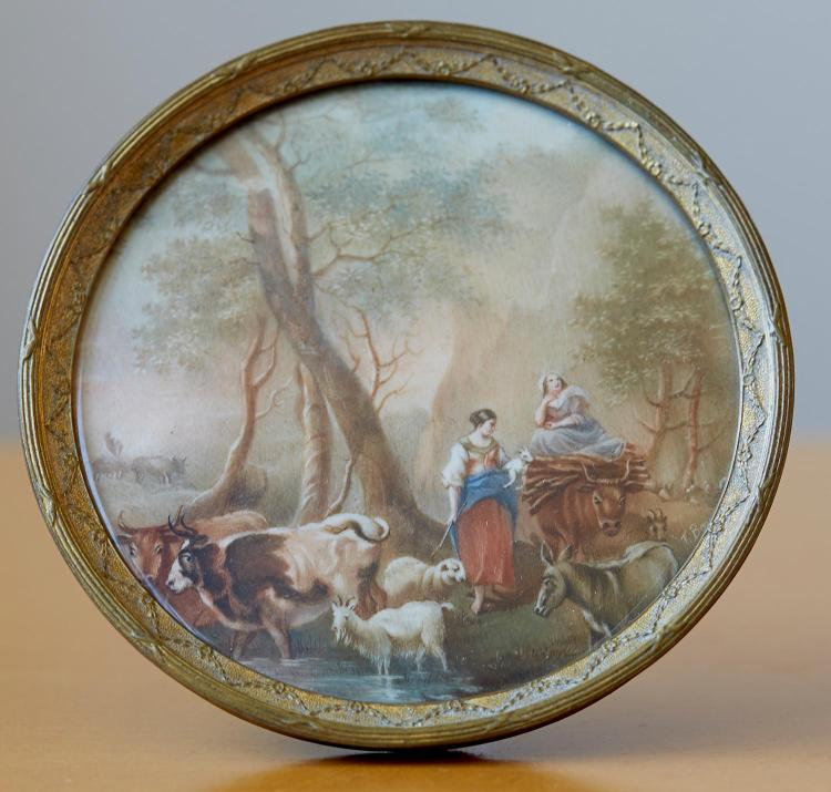 AN EARLY 19TH CENTURY MINIATURE PASTORAL SCENE, SIGNED J.BEZOY 1819
