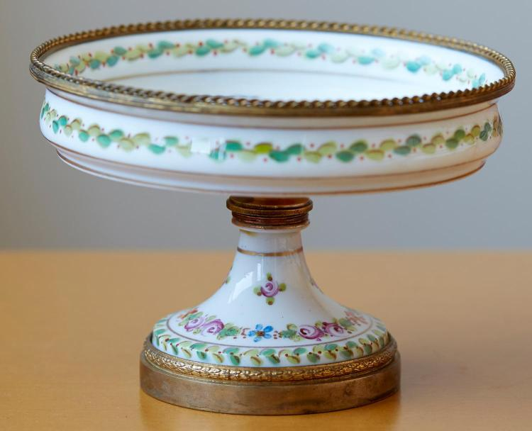 AN ORMOLU MOUNTED PORCELAIN COMPORT WITH SEVRES MARKS, LATE 19TH CENTURY