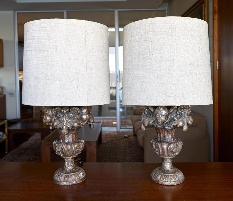 A PAIR OF ITALIAN CARVED GILTWOOD CAMPANA, CONVERTED TO LAMPS, LATE 18TH EARLY 19TH CENTURY