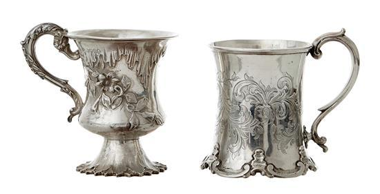 TWO VICTORIAN STERLING SILVER MUGS, ONE BY CHARLES THOMAS FOX, LONDON 1840, THE OTHER BY GEORGE ANGEL & CO, DATE LETTER RUBBED