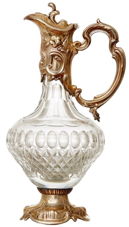 A LATE 19TH CENTURY NORWEGIAN SILVER MOUNTED CUT CRYSTAL CLARET JUG
