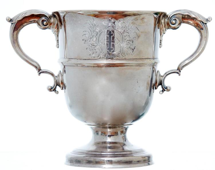 AN IRISH SILVER TWIN HANDLED TROPHY CUP, 19TH CENTURY