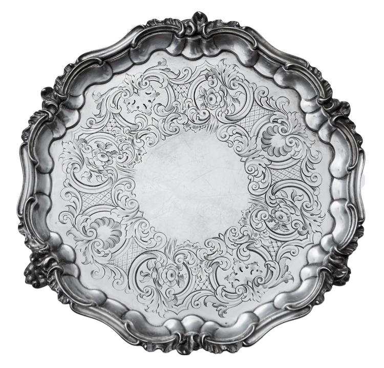 AN EARLY VICTORIAN STERLING SILVER TRAY BY CHARLES REILY & GEORGE STORER, LONDON 1844