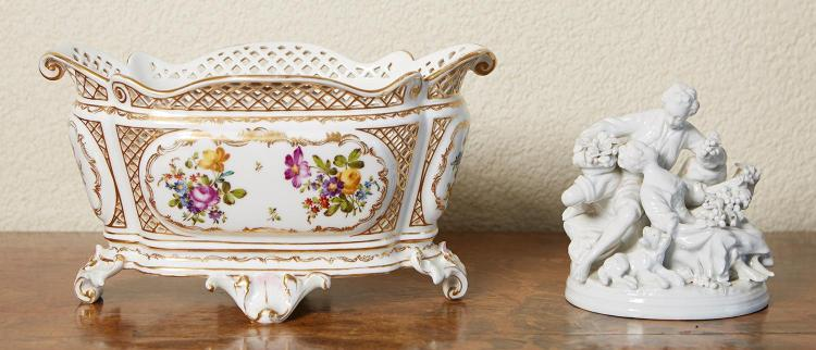 A MEISSEN PORCELAIN CENTRE BOWL, TOGETHER WITH CAPODIMONTE ''BOUCHER'' BLANC DE CHINE GROUP, BOTH 20TH CENTURY