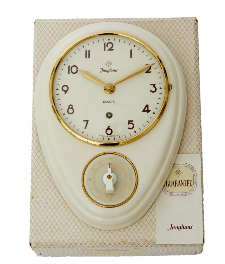 A RARE BOXED AND UNUSED MAX BILL CLOCK BY JUNGHANS CIRCA 1950''S