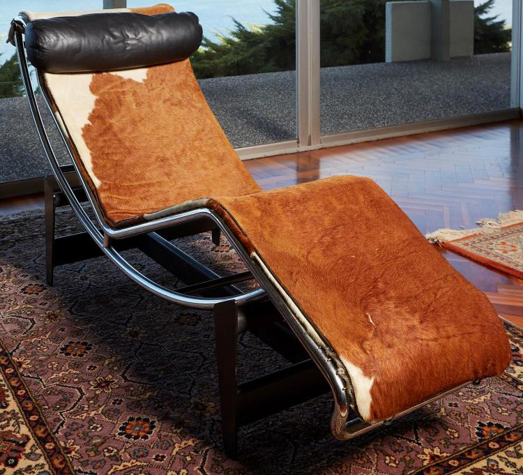 LE CORBUSIER CASSINA COWHIDE LC/4 LOUNGE, SIGNED AND NUMBERED CIRCA 1970