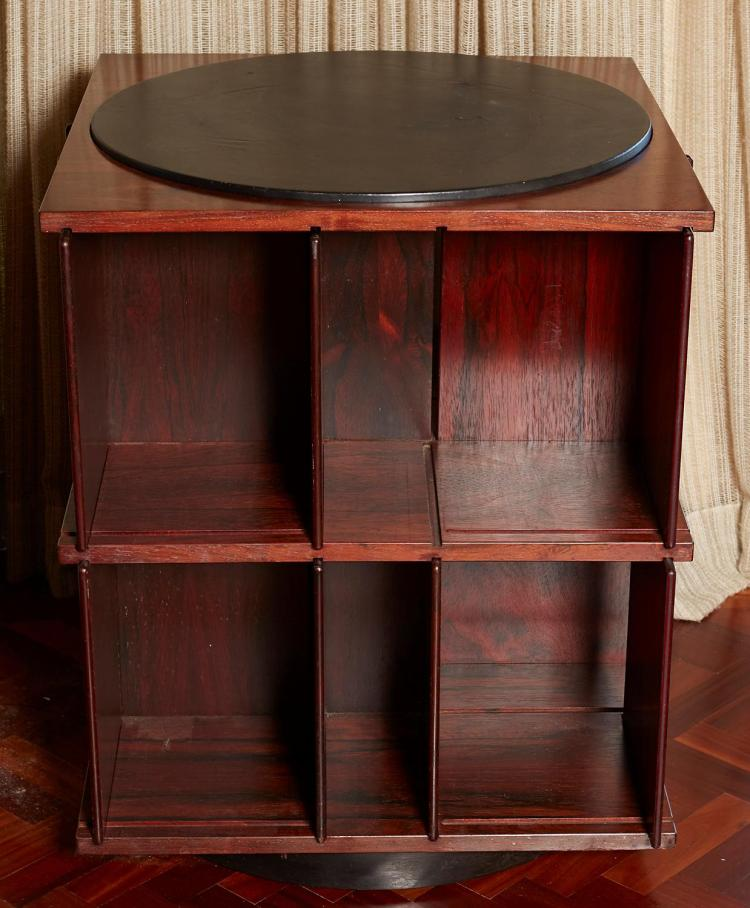 A SECTIONAL ROSEWOOD REVOLVING BOOKCASE, CIRCA 1970''S