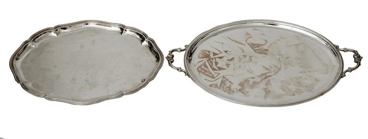 BROGGI MILANO 800 SILVER TWIN HANDLED TRAY, TOGETHER WITH ANOTHER MARKED 800