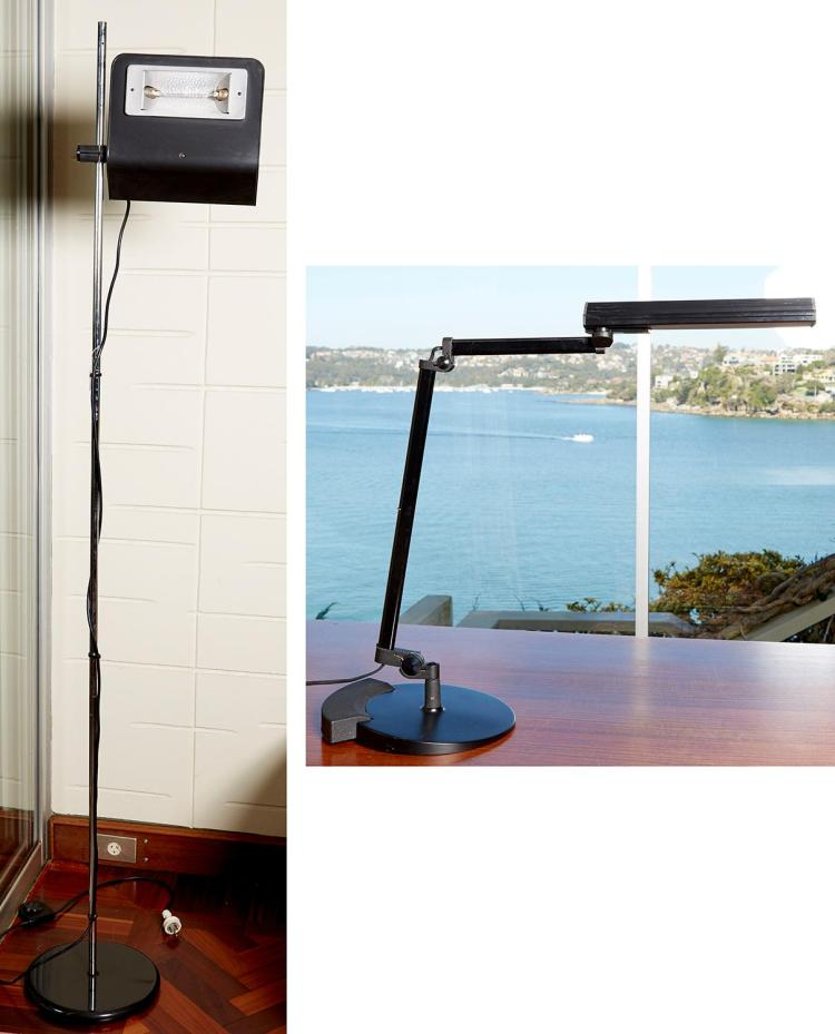 TWO ARTELUCE LAMPS, A DESK LAMP AND FLOOR LAMP BY BRUNO GECCHELIN, CIRCA 1970''S AND LAST QUARTER OF THE 20TH CENTURY
