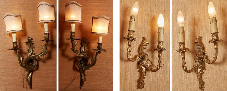 A PAIR OF FRENCH 19TH CENTURY ORMOLU TWIN BRANCH WALL SCONCES