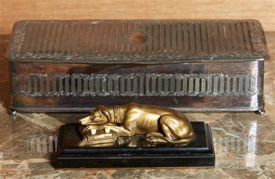 A FRENCH GILT BRONZE BUZZER, TOGETHER WITH AMERICAN SILVER PLATE BOX