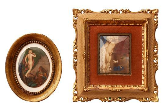 A GRAND TOUR ''THE ARTISTS AND MODEL'' MINIATURE ON IVORY, TOGETHER WITH ANOTHER AFTER VENUS
