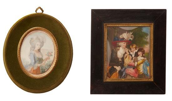 TWO FRENCH IVORY MINIATURES, ONE AFTER REYNOLDS SIGNED DUPRES, THE OTHER A HALF LENGTH POTRAIT, LATE 19TH CENTURY
