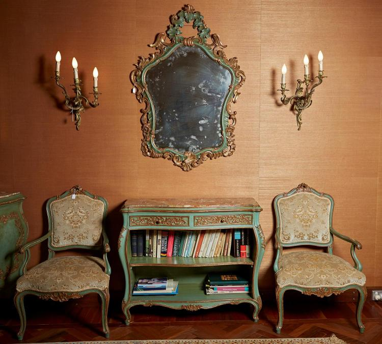 A VENETIAN ROCOCO REVIVAL PAINTED AND GILDED MARBLE TOPPED BOOKCASE, MIRROR AND TWO SIDE CHAIRS