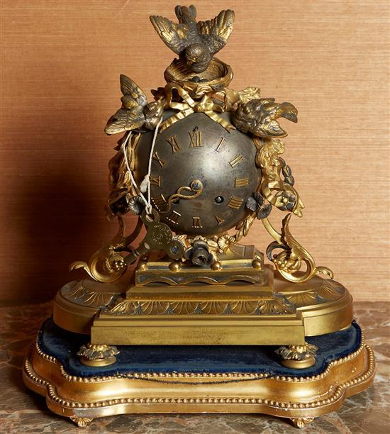 A FRENCH ORMOLU MOUNTED ORB CLOCK, LATE 19TH CENTURY