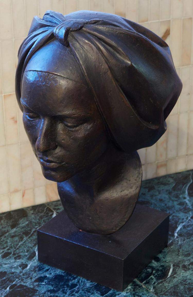 A LARGE BRONZE BUST