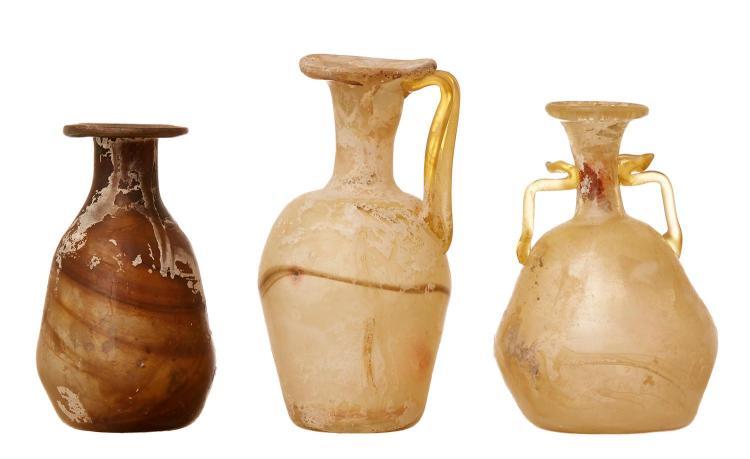 THREE ROMAN GLASS VESSELS