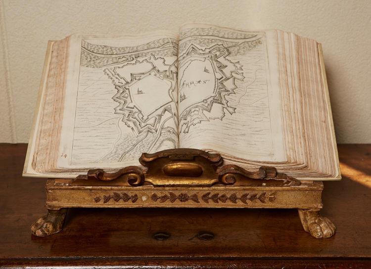 TEATRO DEL BELGIO FOLIO, CREATED BY GUALDO PRIORATO GALEAZZO 1606-1678, ON VENETIAN GILTWOOD BOOK STAND