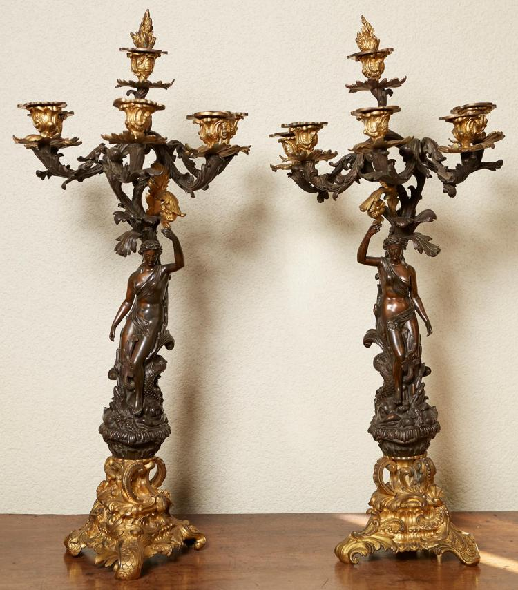 A PAIR OF FRENCH ORMOLU BRONZE FIGURAL CANDELABRA, 19TH CENTURY