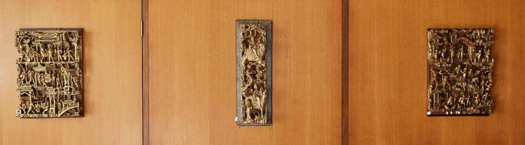 THREE CHINESE GILTWOOD CARVED PANELS IN DEEP RELIEF