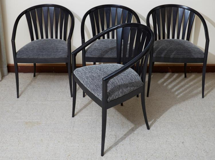 A SET OF FOUR BLACK OAK DINING CHAIRS, PROBABLY ITALIAN CIRCA 1980
