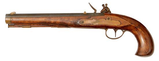 A CONTINENTAL SAW GRIP DUELLING PISTOL, MID 19TH CENTURY
