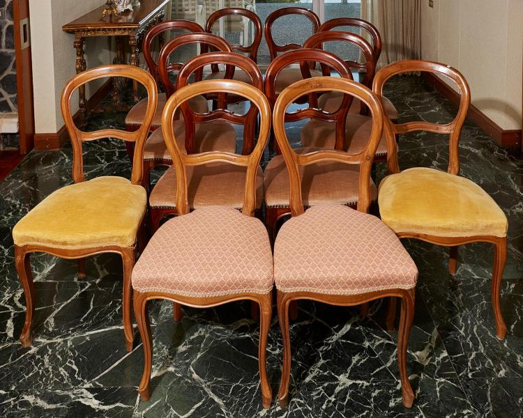 TWO SETS OF SPOON BACK CHAIRS, CIRCA 1900 AND LATER