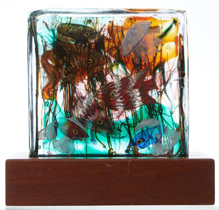 A CENEDESE MURANO GLASS AQUARIUM BLOCK AND LIGHT STAND