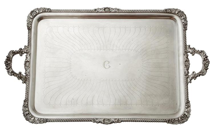 A LARGE EDWARD VII STERLING SILVER TWIN HANDLED TRAY BY W&C SISSONS, LONDON 1901