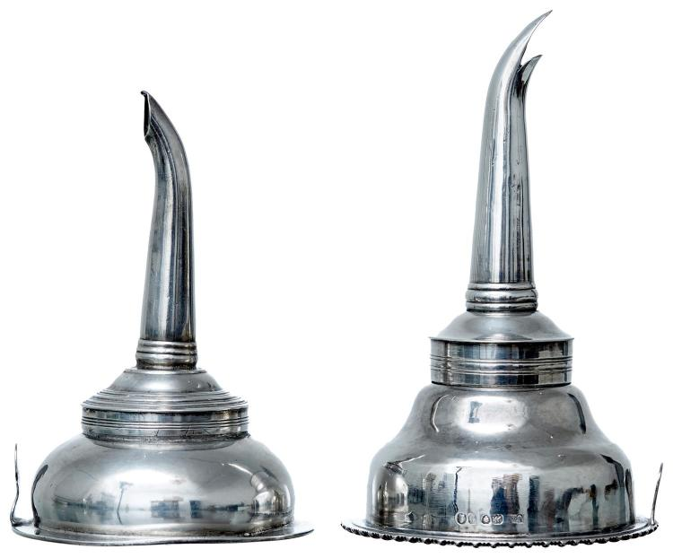 TWO GEORGIAN SILVER WINE FUNNELS, LONDON 1821, MAKERS MARKS RUBBED