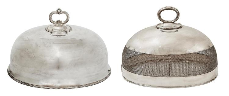 A SILVER PLATE MEAT COVER AND CLOCHE, THE LARGER BY JAMES DIXON & SON, THE OTHER BY HARDY BROTHERS