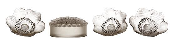 A GROUP OF CONTEMPORARY LALIQUE; THREE ANEMONE FLOWERS AND A ''CACTUS'' BOX