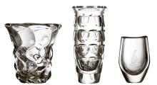 A DAUM CRYSTAL VASE TOGETHER WITH AN ELLIPTICAL CRYSTAL VASE AND ONE OTHER BY ORREFORS