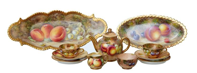 A GROUP OF ROYAL WORCESTER FRUIT PAINTED PORCELAIN, MINIATURE TEA SET AND TWO DISHES