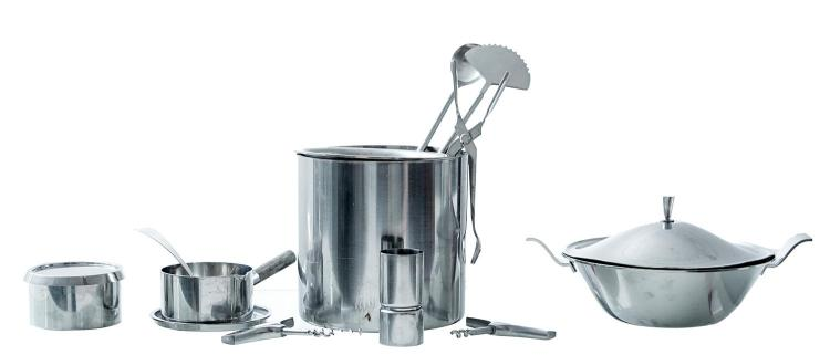 A GEORG JENSEN BAR SET AND OTHER STAINLESS STEEL KITCHENALIA