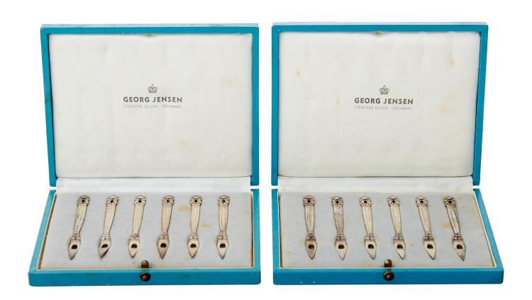 TWO BOXED SETS OF SIX STERLING SILVER GEORG JENSEN ACORN COCKTAIL NUT PICKS