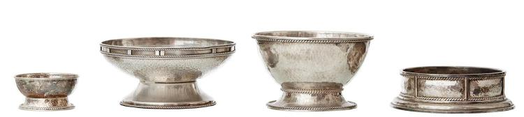 A GROUP OF AUSTRALIAN SILVER, A BOWL AND SALT BY JAMIE LINTON, MARKED JAL ST.SILVER WITH GUMNUT