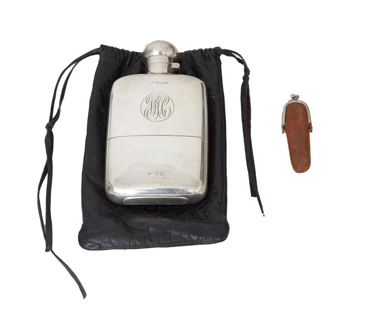 A STERLING SILVER FLASK AND CUP BY COLEN HEWER CHESHIRE, CHESTER 1924, WITH SMALL FRUIT KNIFE, BIRMINGHAM